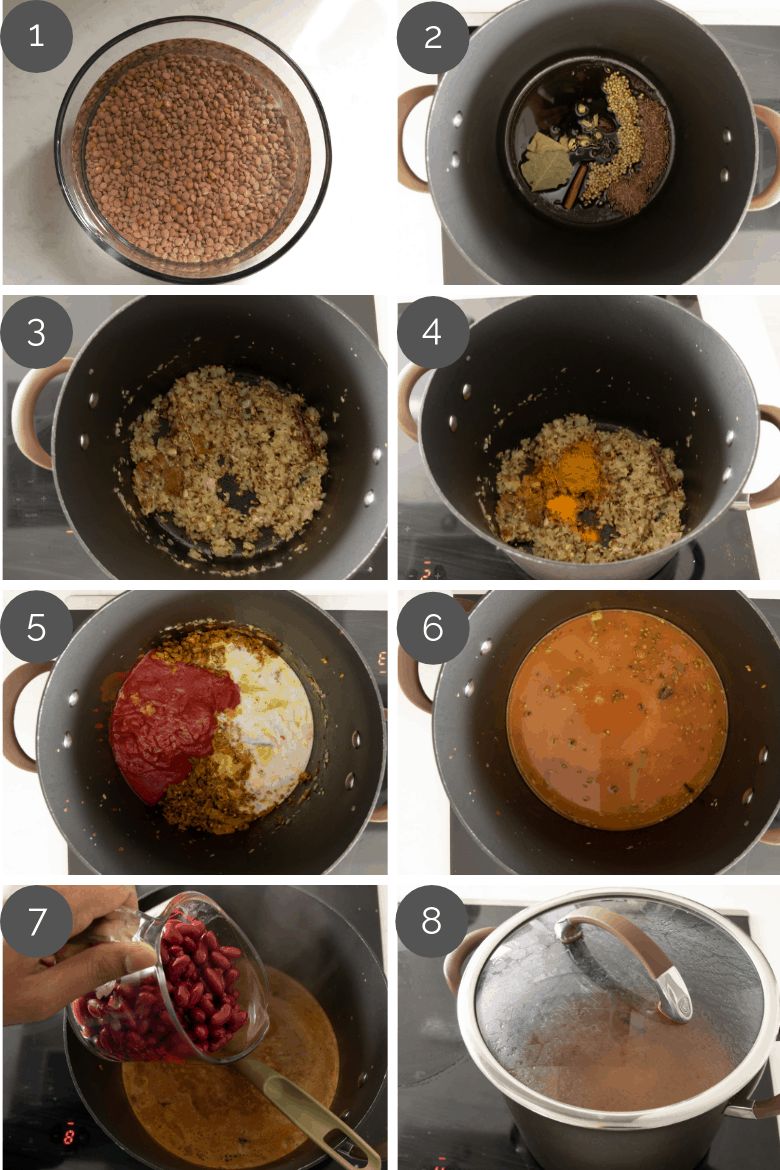 step by step preparation shots of how to make daal makhani (Indian lentil curry)