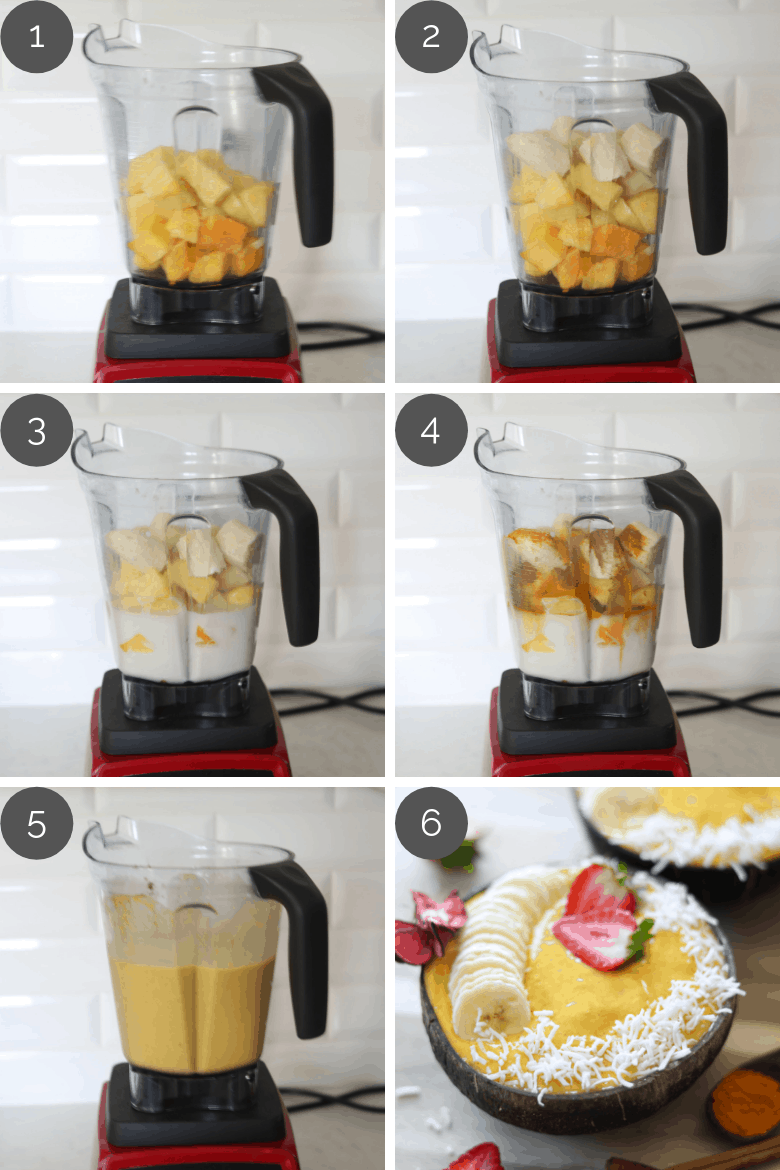 step by step preparation shots of how to make pineapple mango smoothie in a blender