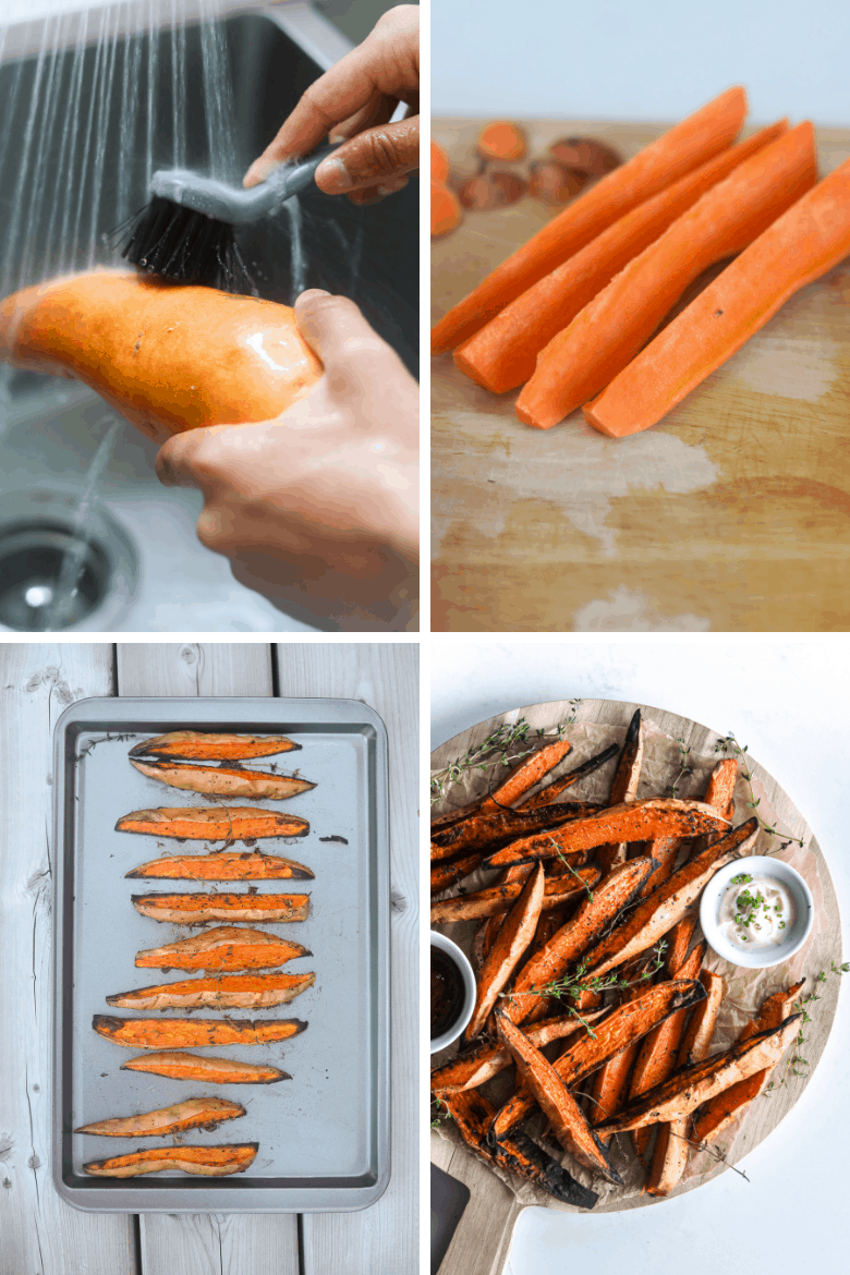 How to make baked sweet potato wedges step by step images