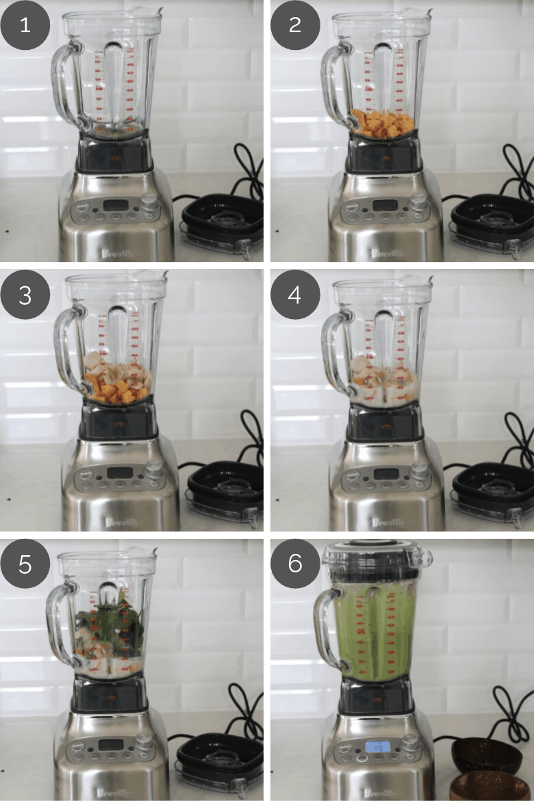 preparation images of green smoothie recipe being made in a blender