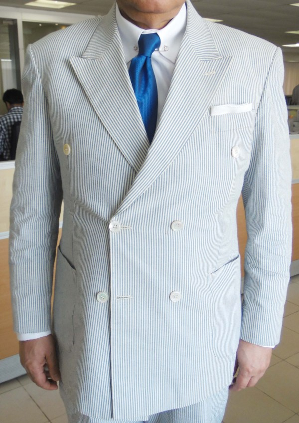 Blue White Double-breasted Seersucker Suit