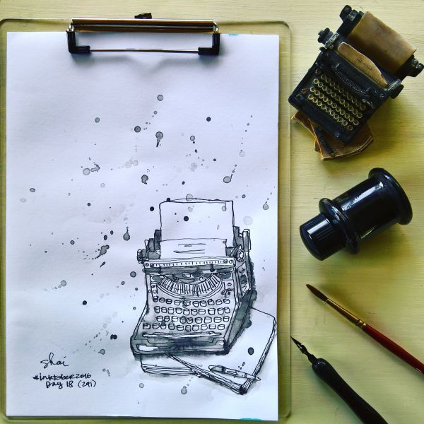 Hand-drawn illustration of Typewriter