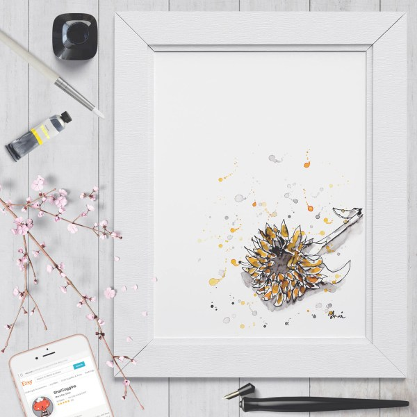 Sunflower Ink - Digital Art Print by Shai Coggins