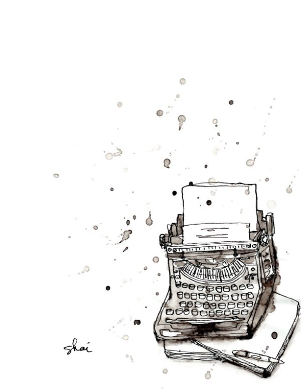 Inky Typewriter Drawing Illustration