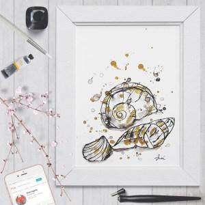 Seashells Ink - Digital Art Print