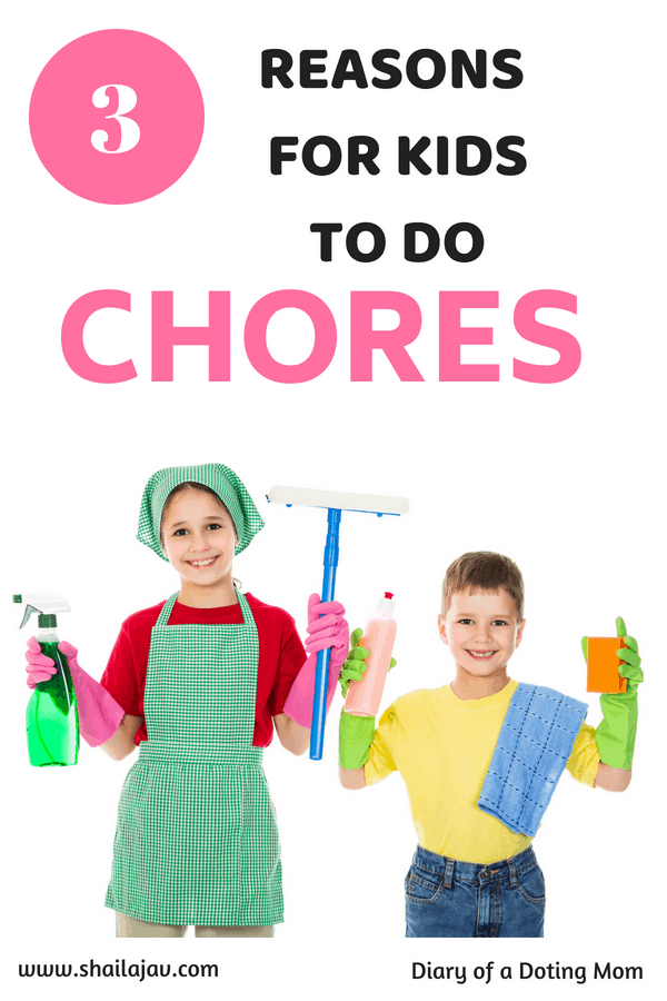 Kids holding up cleaning materials and smiling. Chores for kids and why they need to do them.