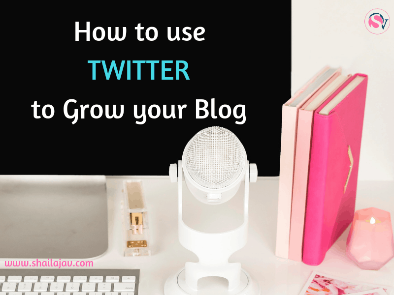 9 Ways you can use Twitter to Grow your blog. Social Media Tips on a black background laptop next to a microphone, keyboard and books on a desk.