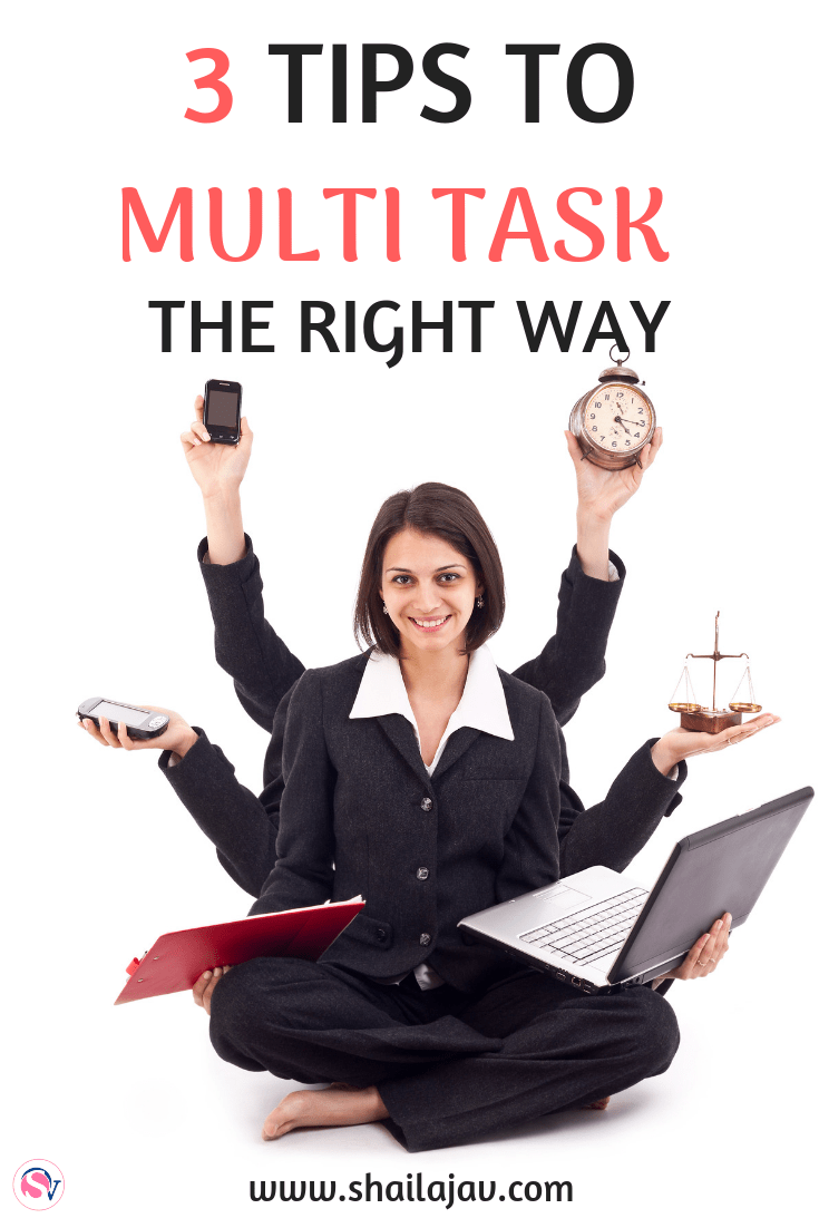 Multi Tasking gets a bad rap and understandably so. But there is a trick to multi tasking that will not only boost  your productivity but lower your stress levels! Here's how it works.   #Productivity #MultiTasking #Shailajav #TaskSwitching #ProductivityHacks #Entrepreneurs #SoloPreneurs