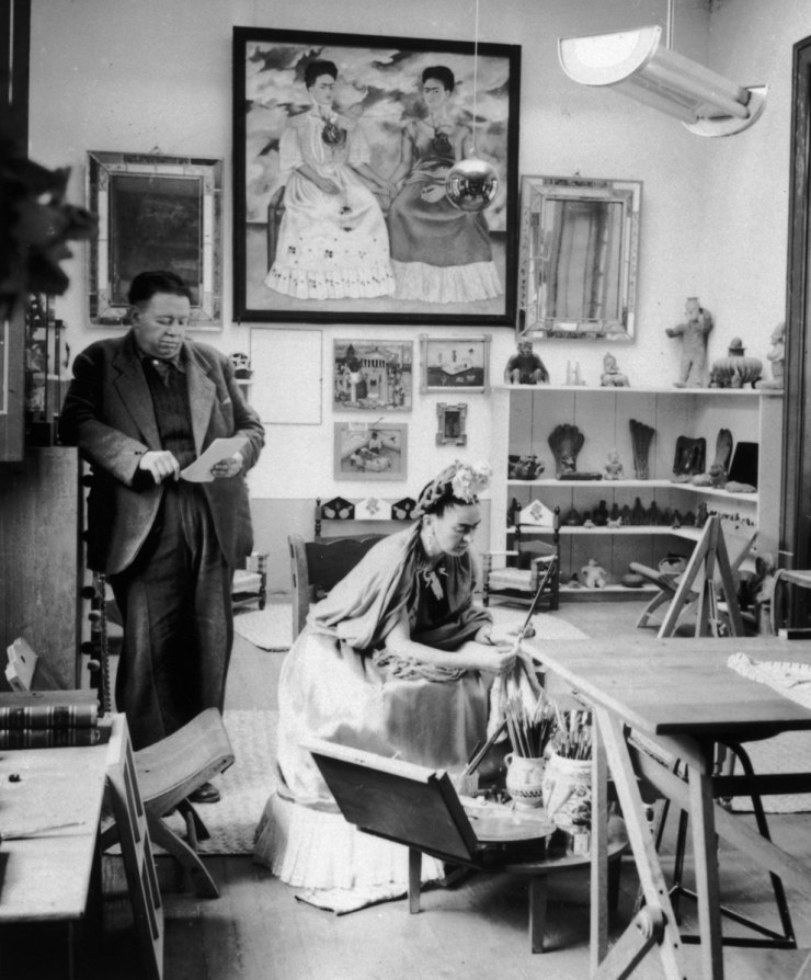 The Mexican artist with her husband, Diego Rivera, at her studio.