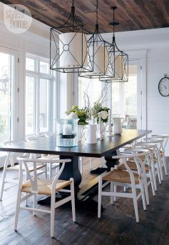 Eyecatching light fixtures above the modernclassic dining rooms Part 26
