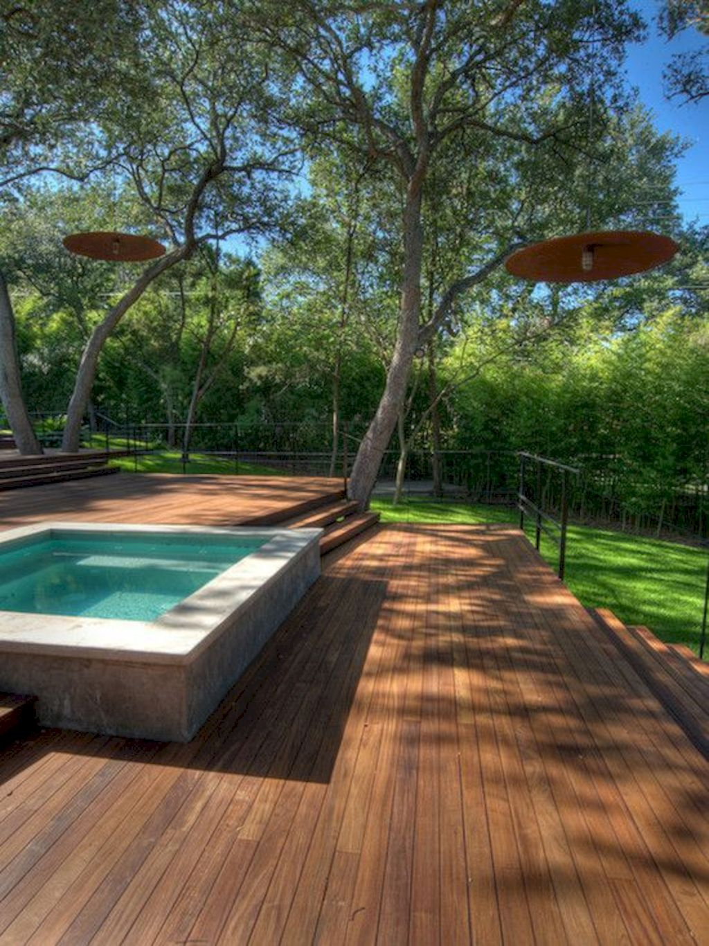 Affordable rectangular pool designs built in small areas that give a lavish look getting along with beautiful landscape (9)