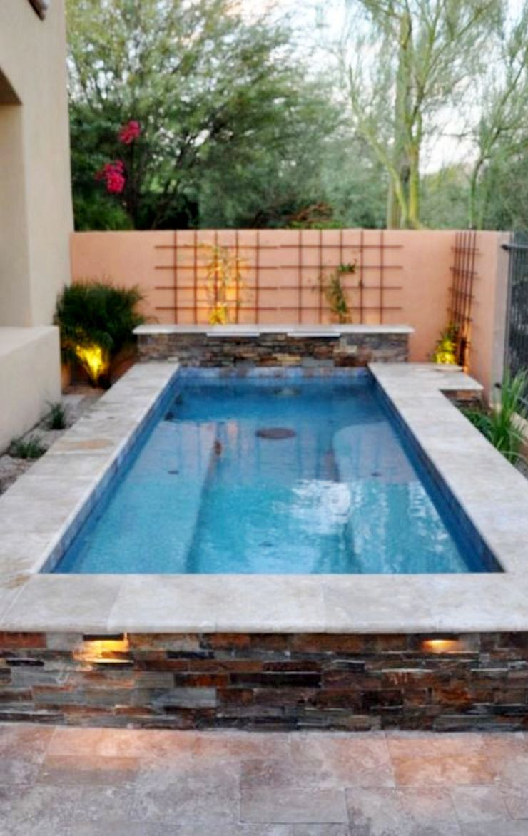 Affordable rectangular pool designs with stone sidings that give a lavish look perfect for summer outdoor parties (2)