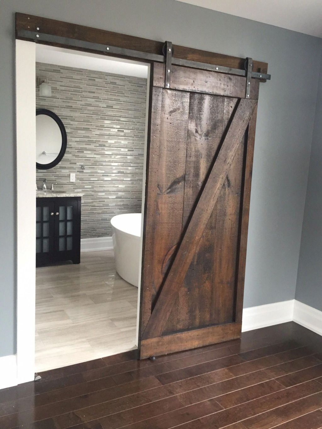 Barn style sliding doors designed for modern rustic home look lovely with traditional finish Image 5
