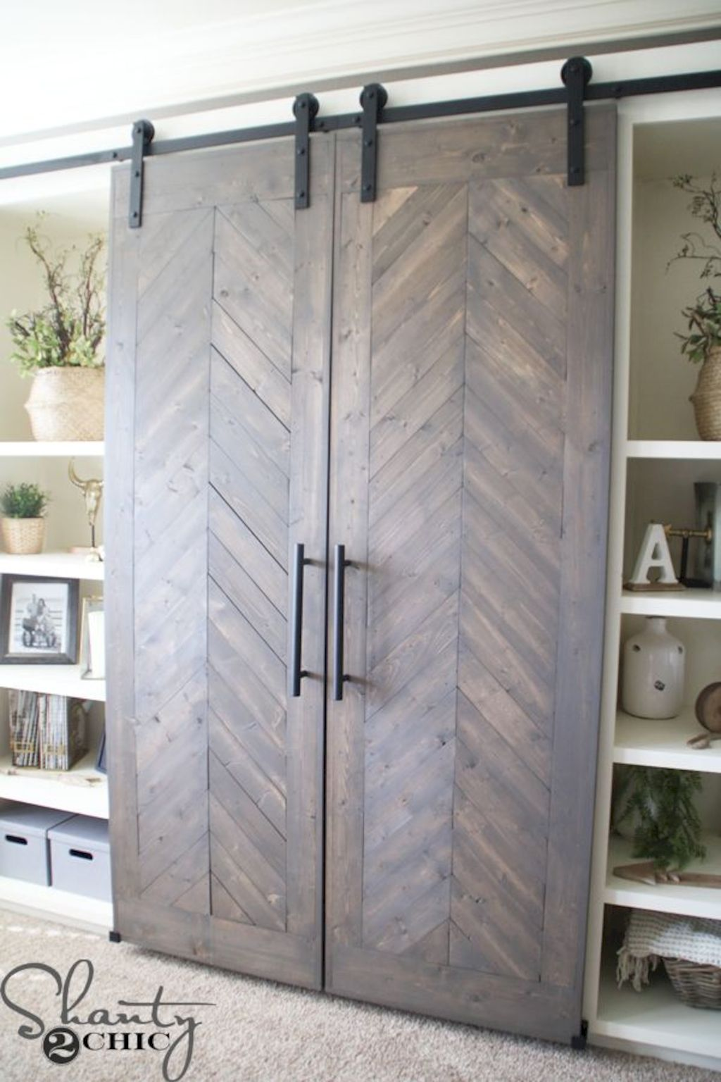 Barn style sliding doors designed for modern rustic home look lovely with traditional finish Image 6