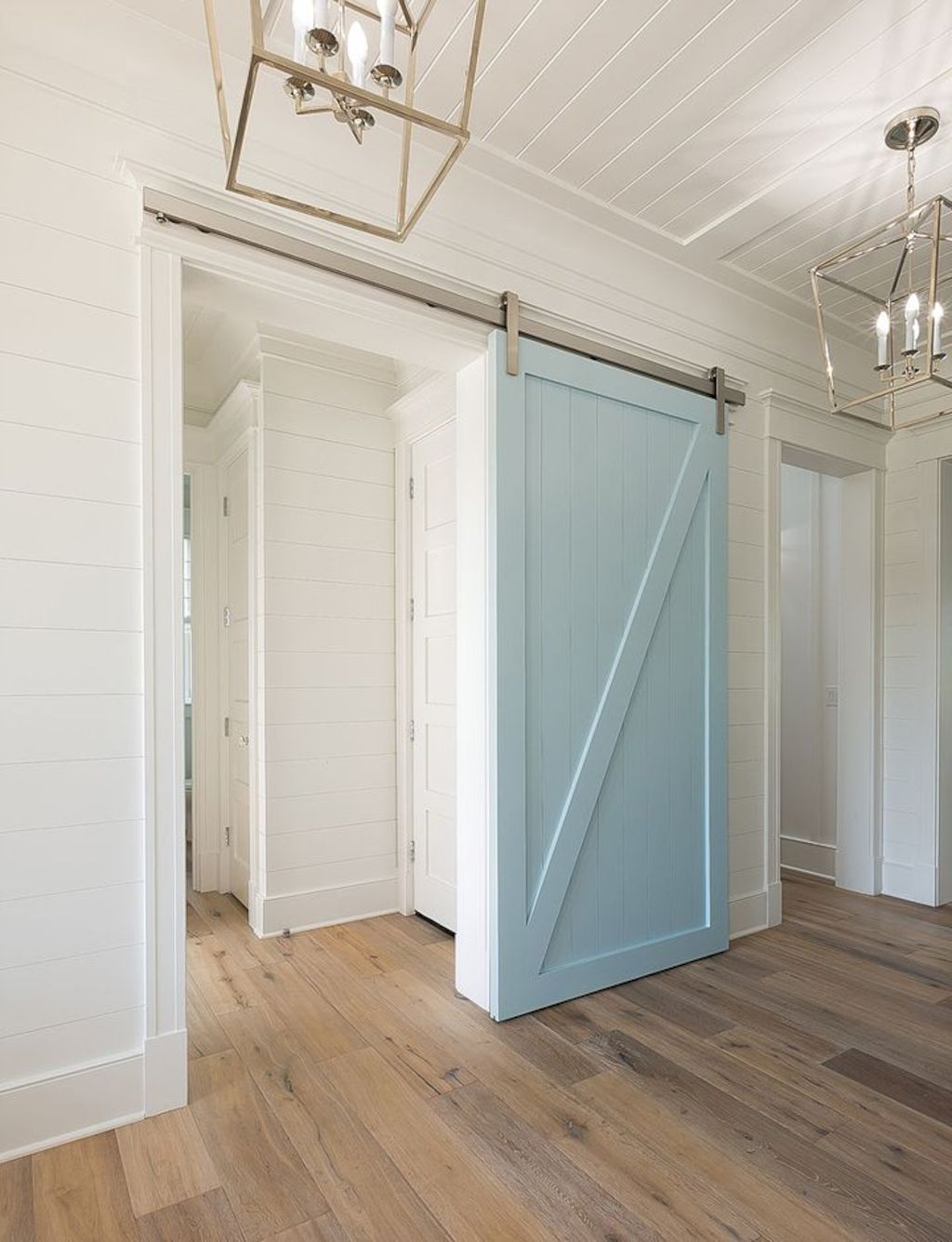 Barn style sliding doors designed for modern rustic home look lovely with traditional finish Image 7