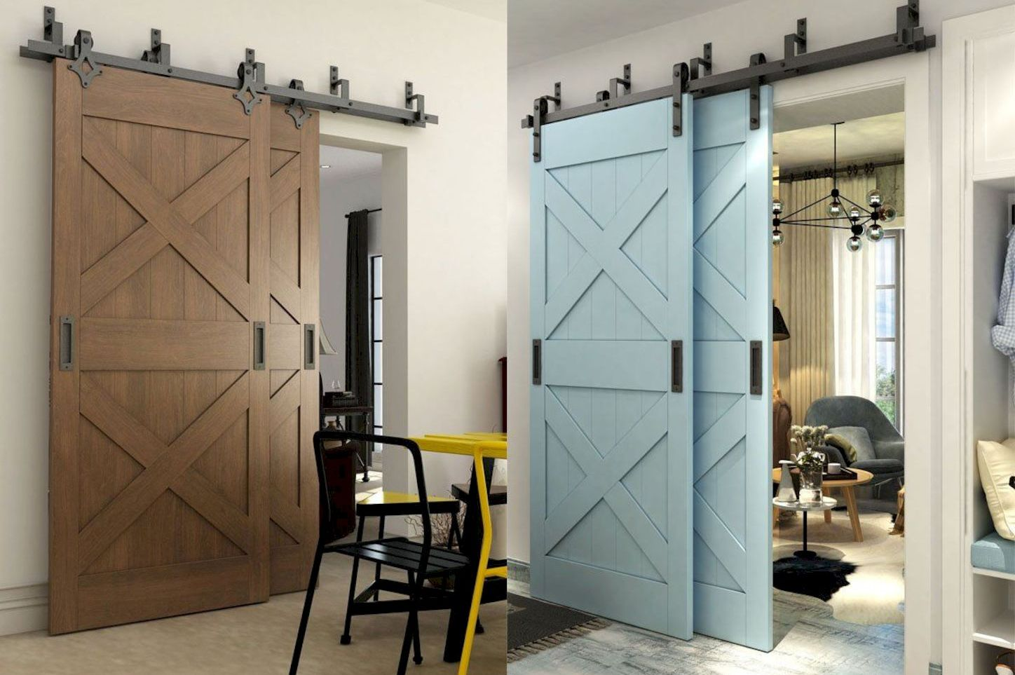 Barn style sliding doors designed to upgrade a rustic look in your farmhouse and rustic home style Image 20