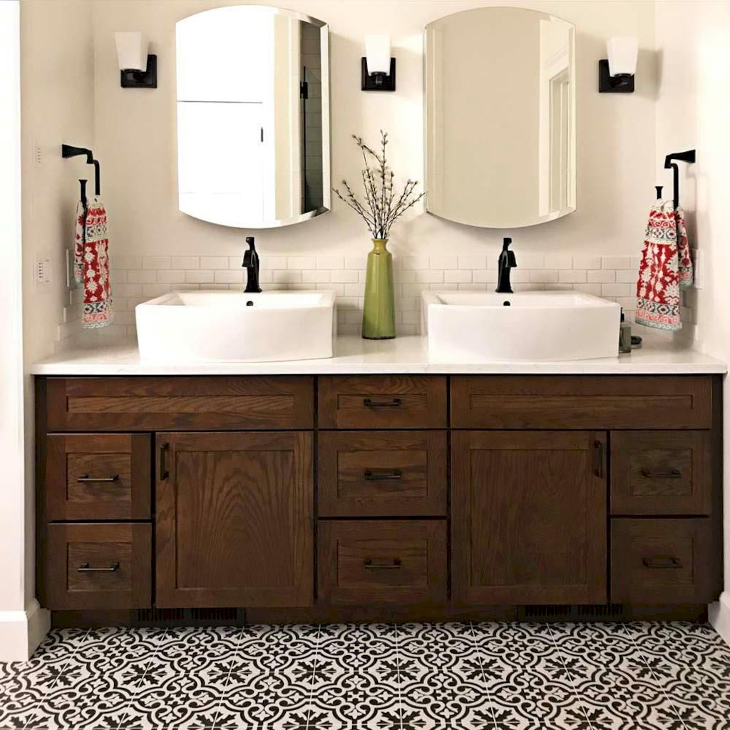 Beautiful bathroom update with eclectic patterned tiles and ethnic rugs very efficient to improve bathroom floor design Image 16