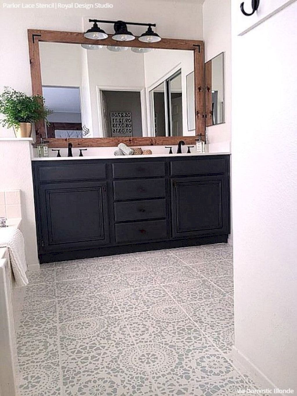 Beautiful bathroom update with eclectic patterned tiles and ethnic rugs very efficient to improve bathroom floor design Image 24