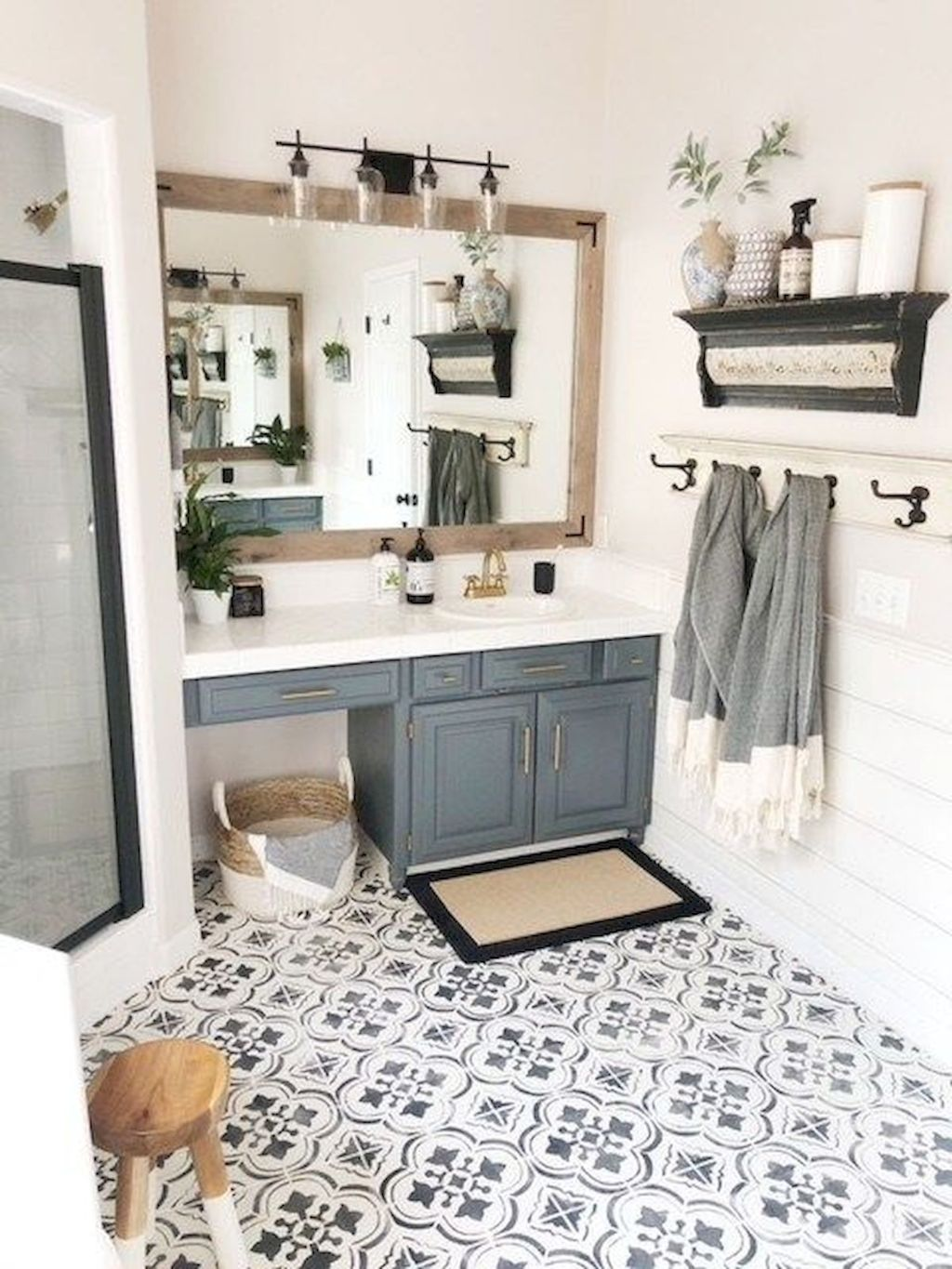 Beautiful bathroom update with eclectic patterned tiles and ethnic rugs very efficient to improve bathroom floor design Image 27
