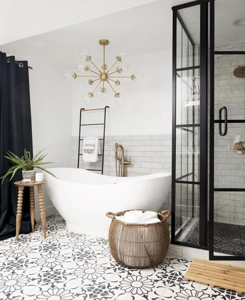 Beautiful bathroom update with eclectic patterned tiles and ethnic rugs very efficient to improve bathroom floor design Image 32