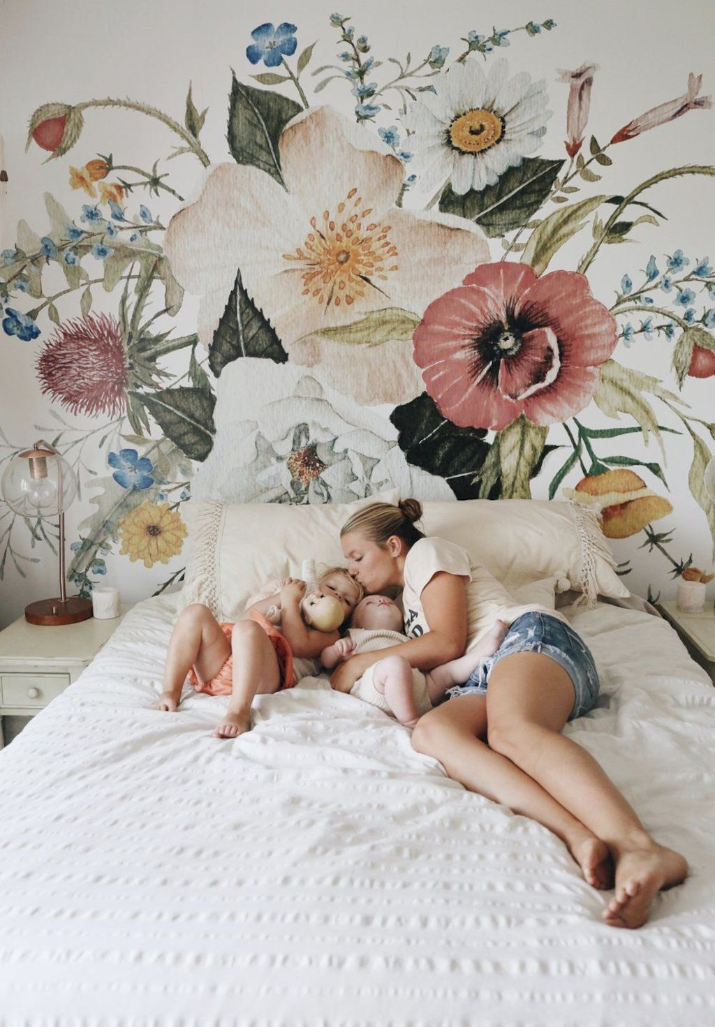 Beautiful wall decal stickers art for nursery and kids room decor with watercolor floral style showing off vintage baby room vibes Image 12