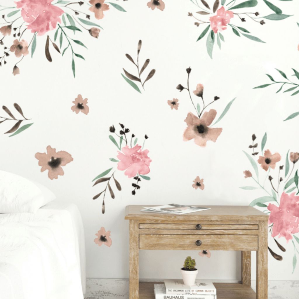 Beautiful wall decal stickers art for nursery and kids room decor with watercolor floral style showing off vintage baby room vibes Image 13