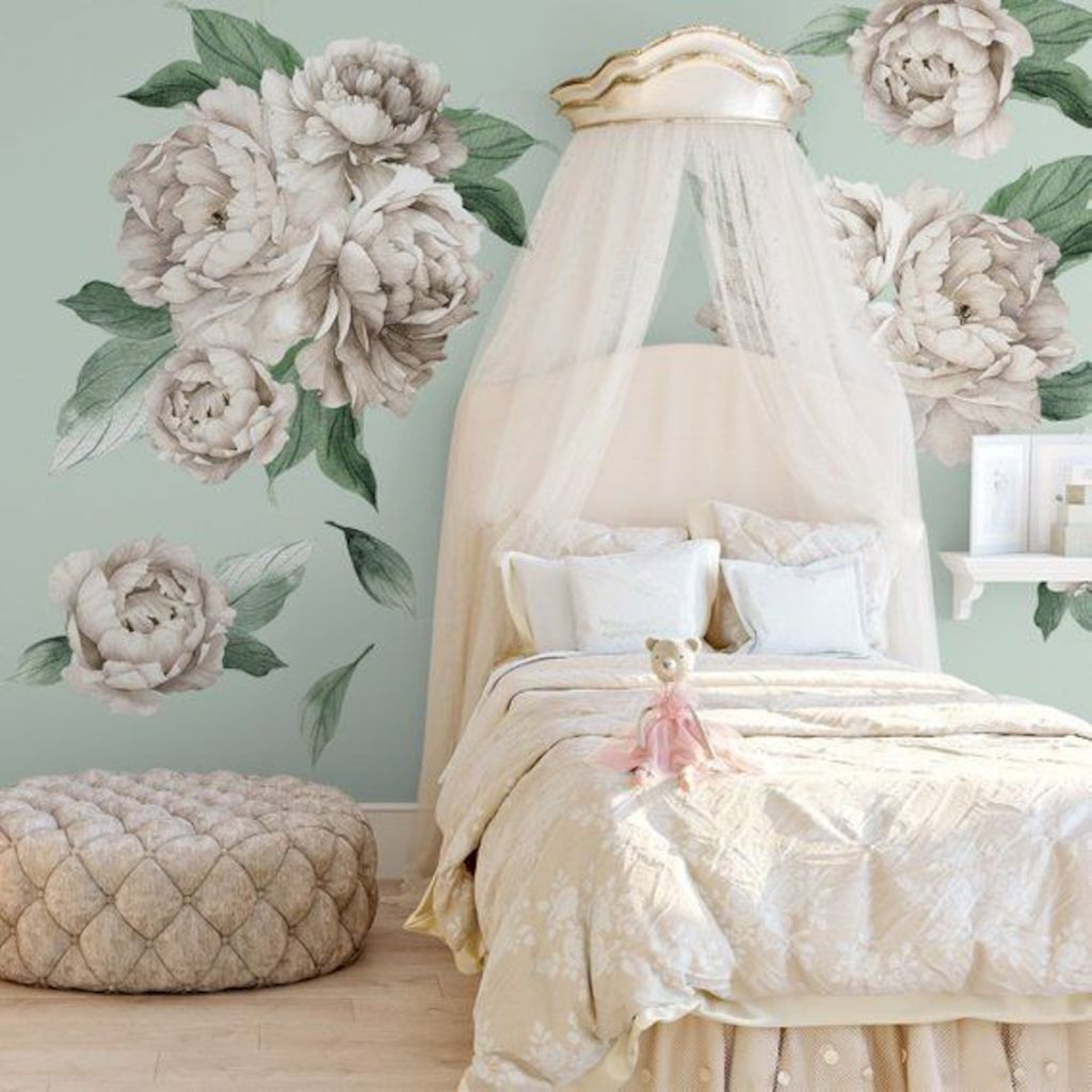 Beautiful wall decal stickers art for nursery and kids room decor with watercolor floral style showing off vintage baby room vibes Image 4
