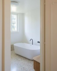 Creative bathroom updates mixing modern trend with simple 60s terrazzo style giving a brilliant contemporary balance Image 12