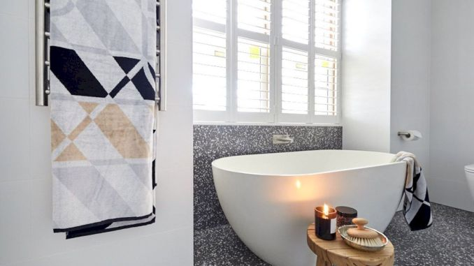 Jazzy Terrazzo Tiles Giving Simple Bathroom A Spa Like