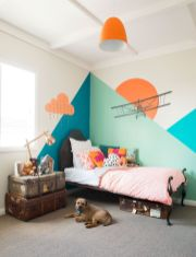 Excellent idea for kids and nursery rooms with geometric walls loaded with triangles rich tones and modern accent style Image 11