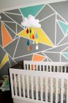 Excellent idea for kids and nursery rooms with geometric walls loaded with triangles rich tones and modern accent style Image 12