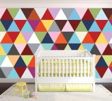 Excellent idea for kids and nursery rooms with geometric walls loaded with triangles rich tones and modern accent style Image 14
