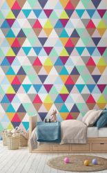 Excellent idea for kids and nursery rooms with geometric walls loaded with triangles rich tones and modern accent style Image 16