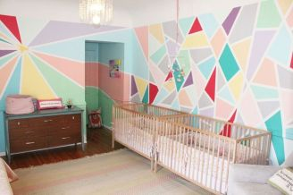 Excellent idea for kids and nursery rooms with geometric walls loaded with triangles rich tones and modern accent style Image 4