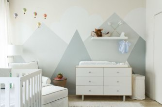 Excellent idea for kids and nursery rooms with geometric walls loaded with triangles rich tones and modern accent style Image 7