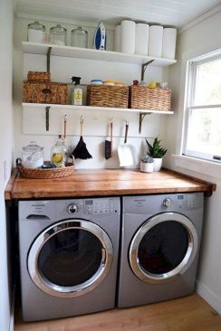 Making a simple laundry room update to maximize its function and look together with cheap accessories and simple layout designs Image 1