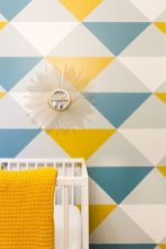 Refreshing and cheerful geometric walls design ideas best for kids and nursery rooms improving playful color scheme Image 19