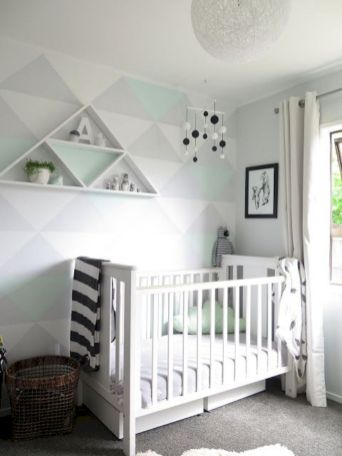 Refreshing and cheerful geometric walls design ideas best for kids and nursery rooms improving playful color scheme Image 21