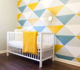 Refreshing and cheerful geometric walls design ideas best for kids and nursery rooms improving playful color scheme Image 25
