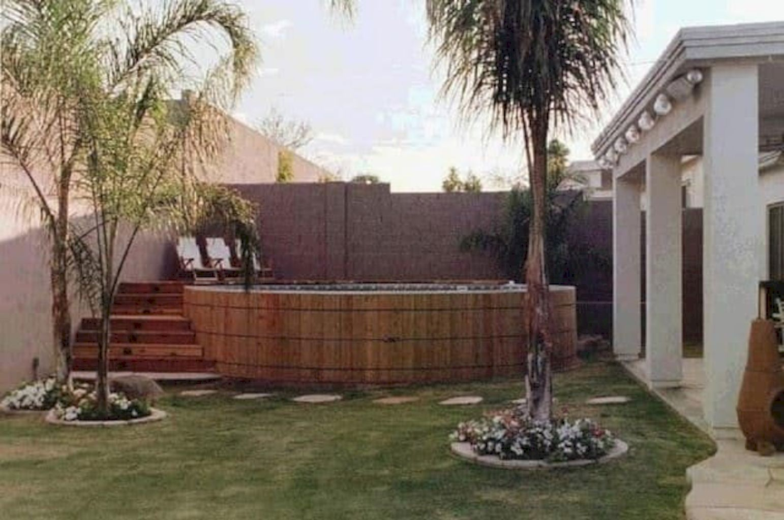 Simple pool designs built above ground designed with cheap materials for simple outdoor relieves Image 18