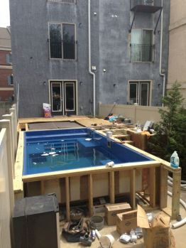 Simple pool designs built above ground designed with cheap materials for simple outdoor relieves Image 19