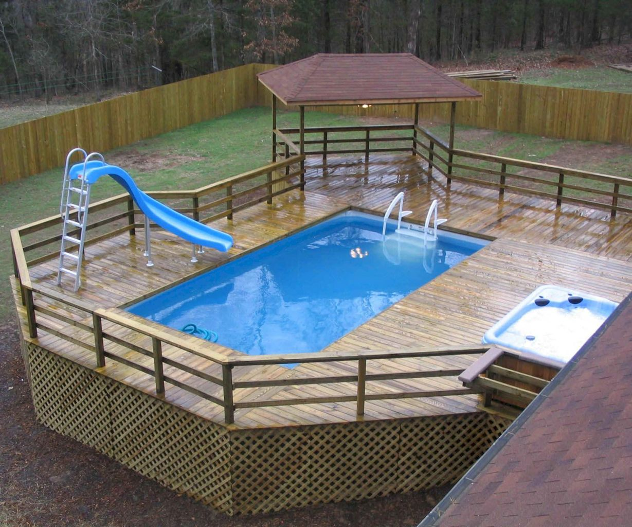 Simple pool designs built above ground designed with cheap materials for simple outdoor relieves Image 3