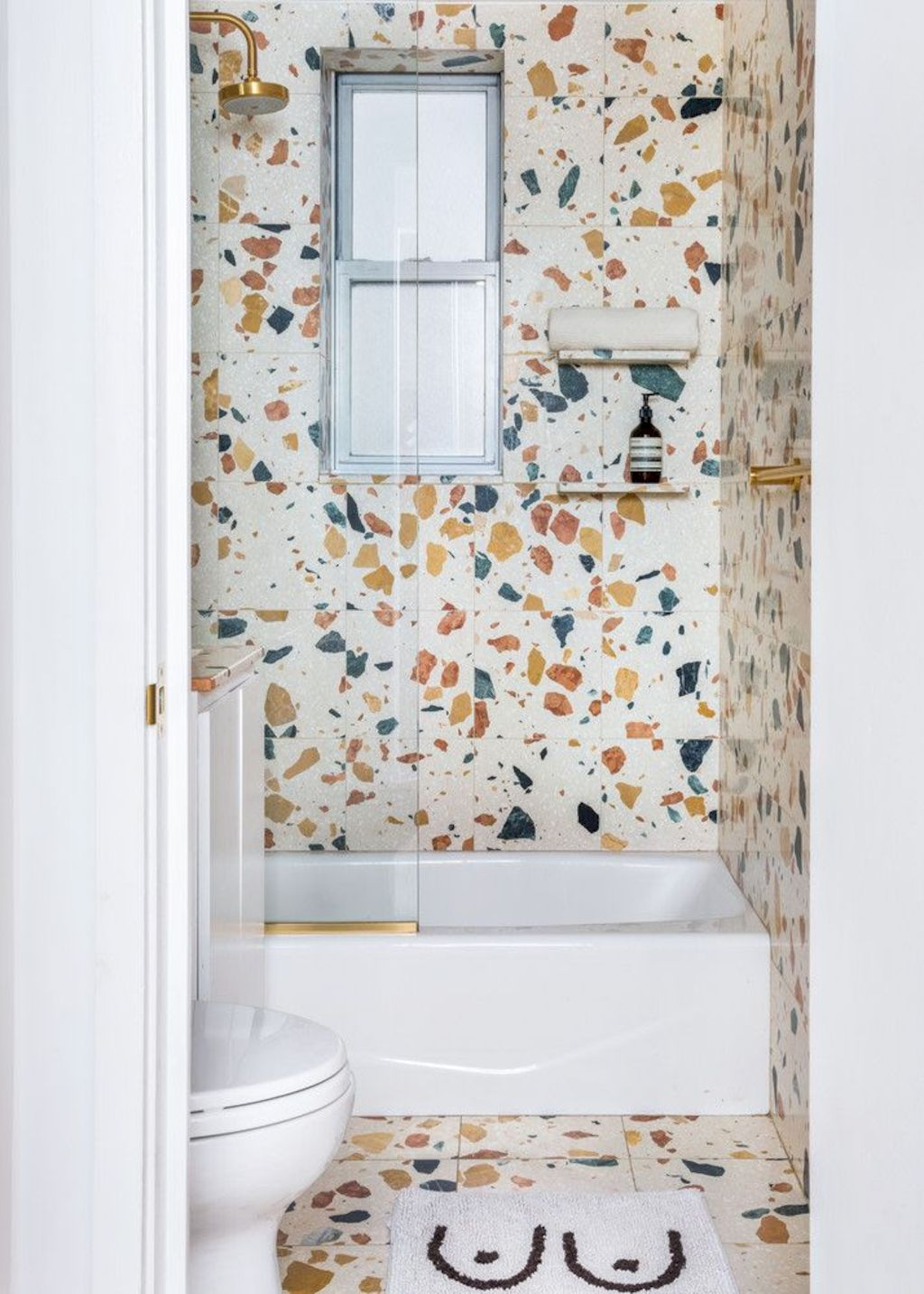 Terrazzo tiles used in bathroom renovation showing classical comeback that bring an artistic retro statement in your home Image 28