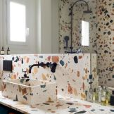 Terrazzo tiles used in bathroom renovation showing classical comeback that bring an artistic retro statement in your home Image 29