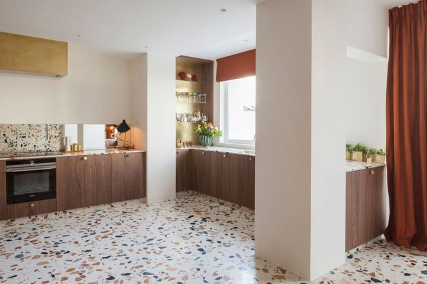 Artsy terrazzo flooring bringing back the classy vintage accent combined in modern simple interior style Image 17