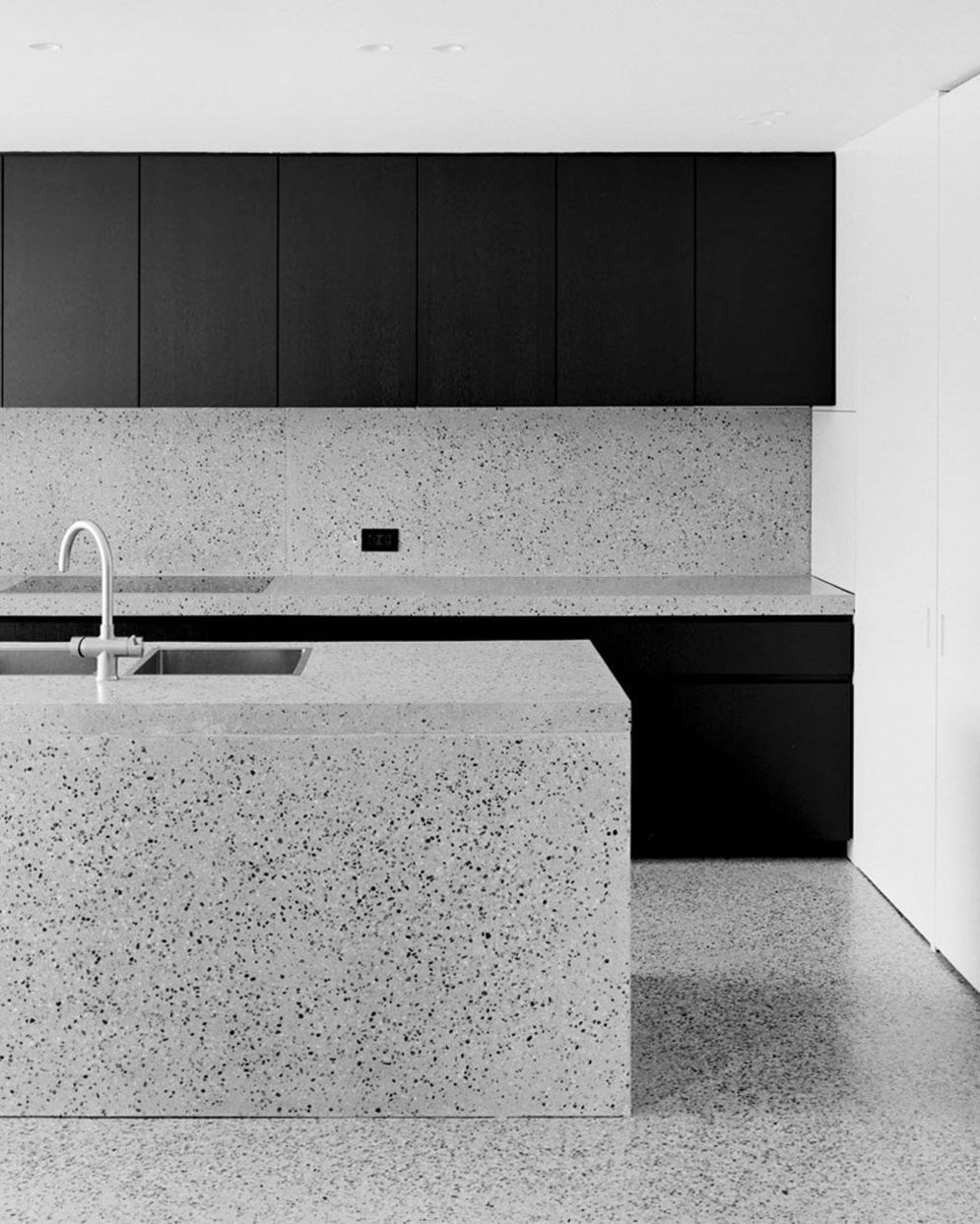 Artsy terrazzo flooring bringing back the classy vintage accent combined in modern simple interior style Image 19