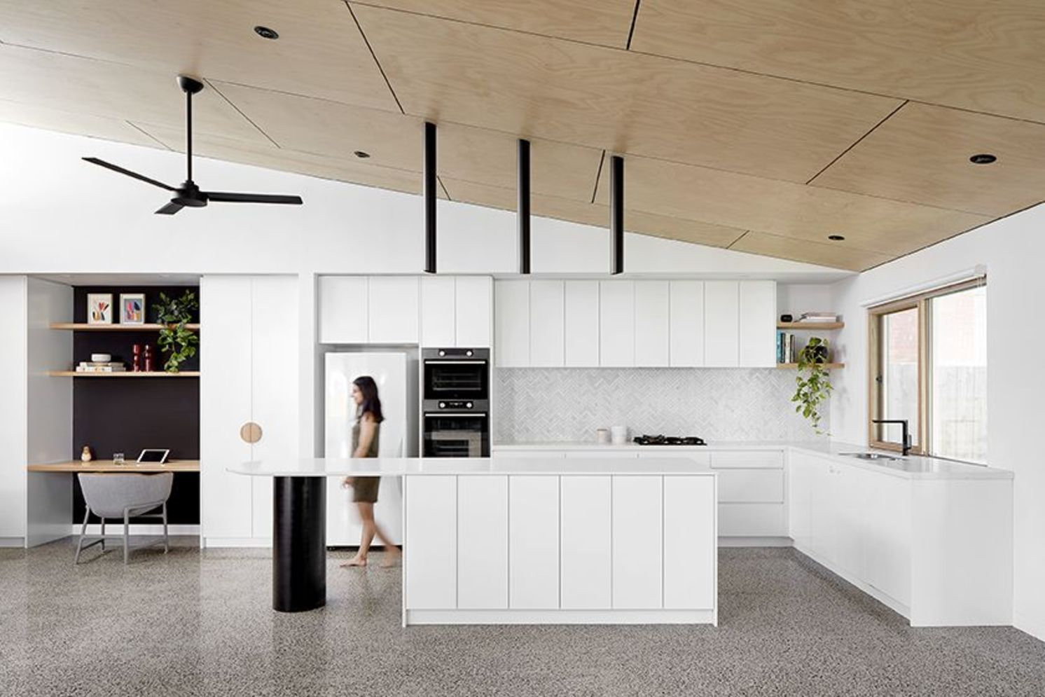 Artsy terrazzo flooring bringing back the classy vintage accent combined in modern simple interior style Image 23