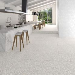 Artsy terrazzo flooring bringing back the classy vintage accent combined in modern simple interior style Image 25