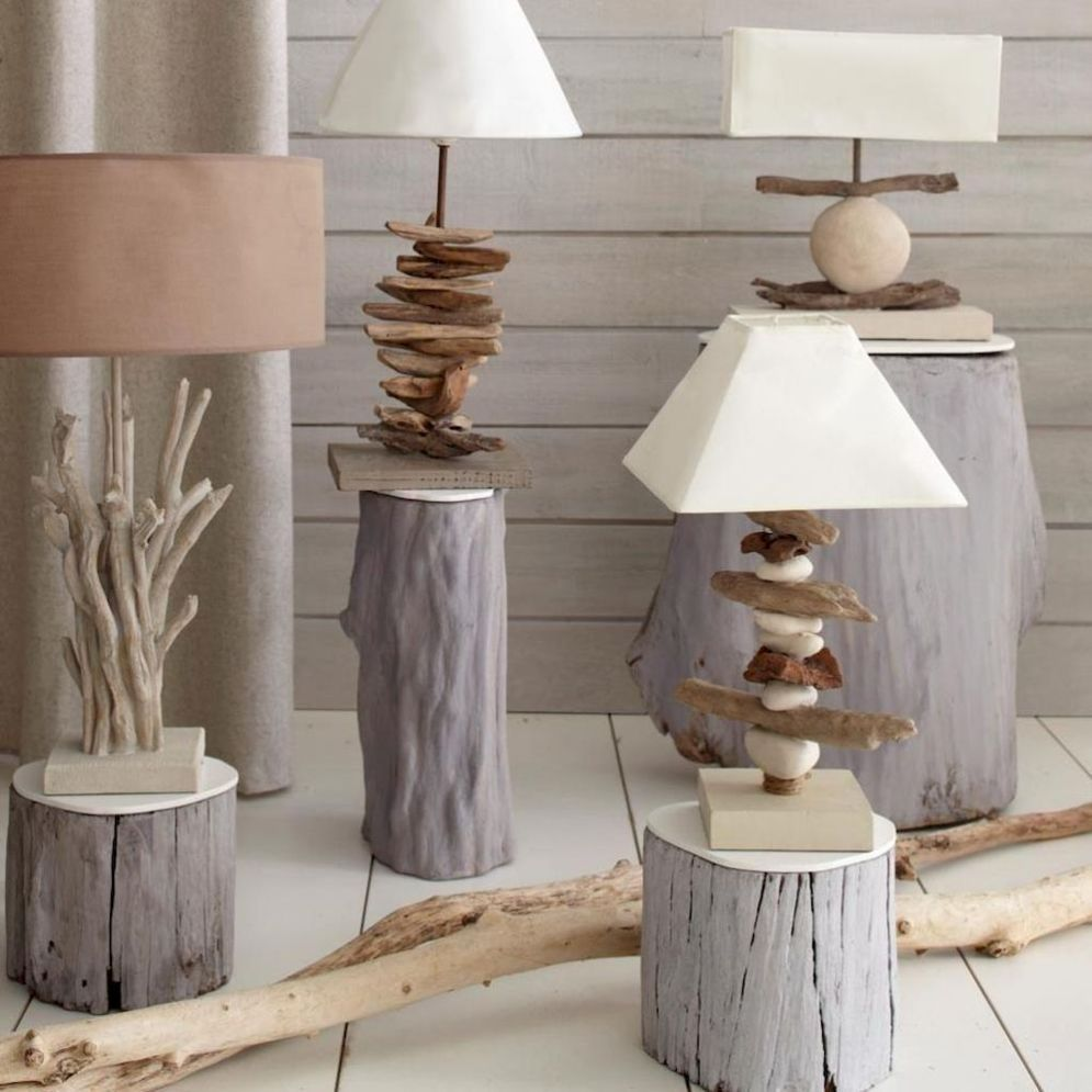 Awesome driftwood lamp stands giving authentic decoration in natural art style Image 1