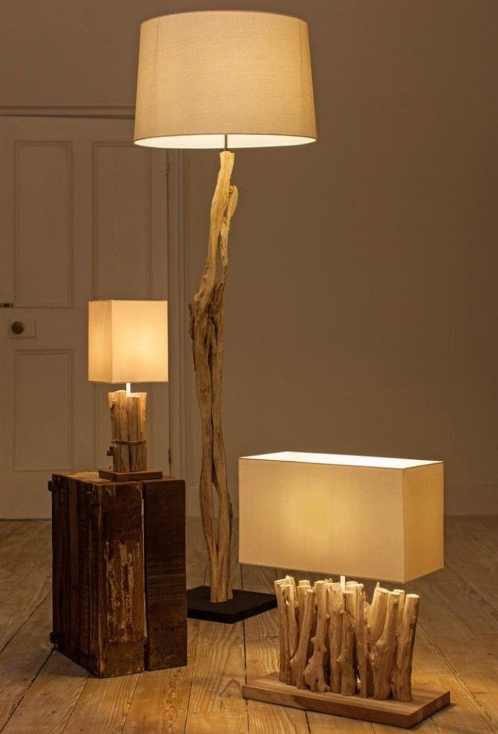 Awesome driftwood lamp stands giving authentic decoration in natural art style Image 2